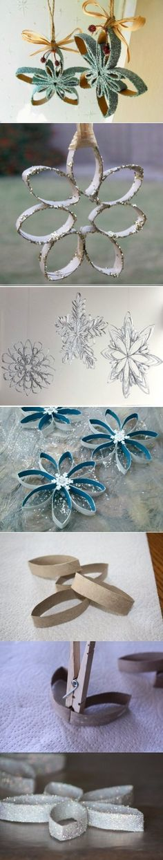 МК: Новогодние украшения из рулончиков от туалетной бумаги Christmas Crafts, Christmas Decorations, Christmas Ornaments, Winter Art, Holidays And Events, Quilling, Snowflakes, Decoupage, Upcycle