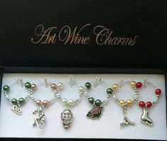 6 Minnesota Wild Hockey themed Wine Charms Sports by PickinsGalore