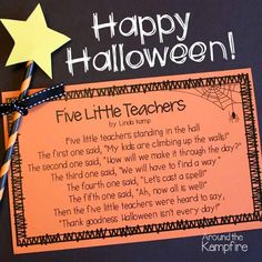 Free printable 5 Little Teachers Halloween poem for teachers Halloween Teacher Gifts, Halloween Poems, Halloween Math, Halloween Activities, Holidays Halloween, Halloween Treats, Happy Halloween, Halloween Costumes, Teacher Poems