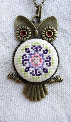 Owl necklace Owl mandala necklace Embroidered mandala necklace