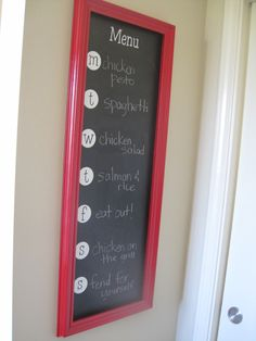 Chalkboard dinner menu. I want this for my apartment next year!
