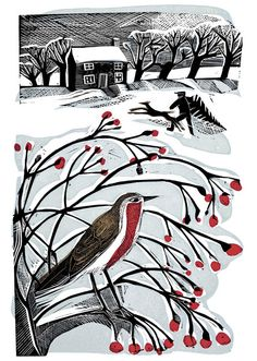 [Bringing back the Tree by Angela Harding Silkscreen & Linocut]. Christmas cards?