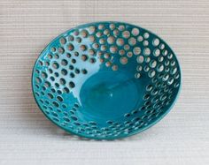 bowl handmade bowl pottery bowl berry bowl turquoise by RjsPots