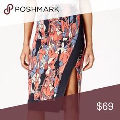 """RACHEL Rachel Roy Printed Pencil Skirt Bold, figure-hugging skirt  Pull-on style Textured; slit at front Pencil silhouette Unlined Hits below knee; approx. 27-1/2"""" long Viscose/nylon Machine washable Imported RACHEL Rachel Roy Skirts Pencil"""