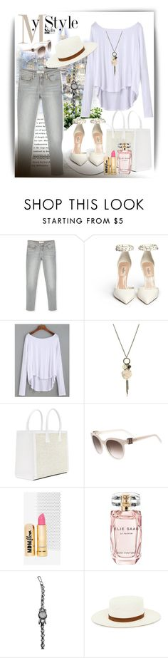 """SheIn White Drop Shoulder T-shirt"" by manuela-cdl ❤ liked on Polyvore featuring MANGO, Wet Seal, Salvatore Ferragamo, MDMflow, Elie Saab, Jaeger-LeCoultre and Edit"