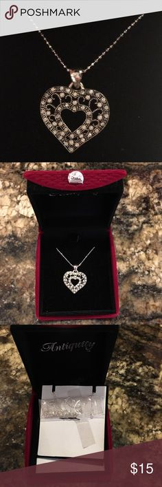 """NWOT Heart Pendant NWOT Beautiful Filigree detail with Crystal Accents.  This Antiquity Heart Necklace Measures Approx 7/8"""" Wide and Hangs From 18"""" Silver Ball Chain. Sterling Silver Plated.  Gift Box in Beautiful Burgundy Velour Box. Antiquity Jewelry Necklaces"""