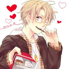 Alfred's treating us to Pocky! - Art by すが on Pixiv, found via Zerochan
