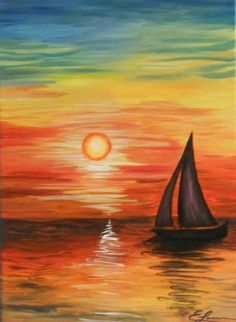 Sailboat at sunset with pretty reflections on the water and colorful sky. Beginner painting idea.