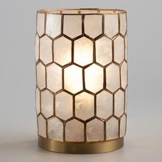 "Cost Plus Gold Cadiz Honeycomb Table Lamp - $59.99 (6"" diameter, 10"" tall)"
