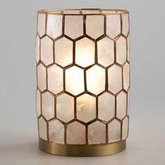 Gold Capiz Honeycomb Table Lamp | World Market