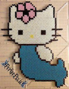 Mermaid Hello Kitty perler beads by PerlerPixie