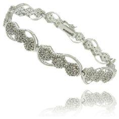 Finesque Silverplated 2ct TDW Diamond Flower Link Bracelet