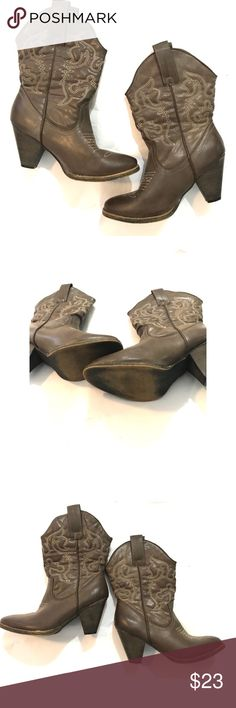 Heeled brown cowboy boots Good condition. Rue 21 Shoes Heeled Boots