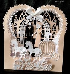 Wedding Shadow Box SVG on Craftsuprint designed by Tina Fitch - A stunning Shadow box card, Cut in the brides Wedding colours and I am sure it will be well received...  - Now available for download!