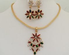 Antique Gold plated necklace with clear cubic zirconia stones and green,red cabochons -05ATQ32  http://www.craftandjewel.com/servlet/the-1562/Antique-Gold-plated-necklace/Detail