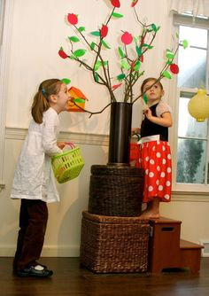 Indoor apple picking! Great for dramatic play - can encourage counting, sorting, creative problem solving...