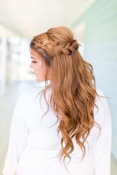 Rustic wedding bridal hairstyles - chunky braid wedding hair