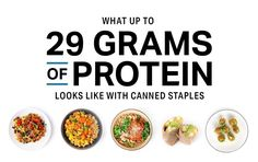 What up to 29 Grams of Protein Looks Like With Canned Staples High Protein Recipes, Protein Foods, Healthy Recipes, Healthy Protein, Clean Eating Recipes, Healthy Eating, Healthy Food, Non Perishable Foods, Meal Prep Plans