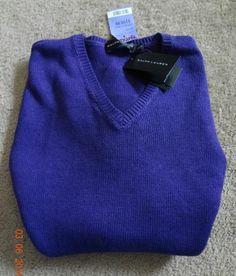 Ralph Lauren Black Label Men's Purple L V-Neck 70%Linen/30%Silk Sweater NWTChina