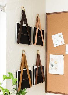 Leather Strap Hanging File Storage Organizer Vinyl Record Holder, Vinyl Record Storage, Wall Storage, Vinyl Records, Media Storage, Office Storage, Mail Organizer Wall, File Organiser, Wall File Holder