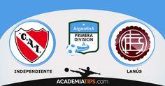 Independiente vs Lanús: ndependiente e Lanús são duas equipas bem conhecidas do futebol argentino. Já disputaram várias partidas entre si, e existe um ligei...(ANALISE DESTE E OUTROS JOGOS CLICA NO LINK ABAIXO)  http://academiadetips.com/equipa/independiente-vs-lanus-campeonato-argentino/