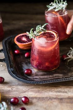 Spiced Cranberry Rosé Spritzers | halfbakedharvest.com #cocktails #thanksgiving #christmas #holiday #easyrecipes #punch