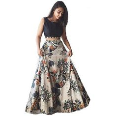 Bhakti Nandan Women's Cotton Silk Lehenga Choli With Blouse Piece_Black white floral_Free Size Lehenga Choli Designs, Ghagra Choli, Lehenga Choli Online, Sarees Online, Floral Lehenga, Silk Lehenga, Silk Dupatta, Black Lehenga, Lehenga Kurta