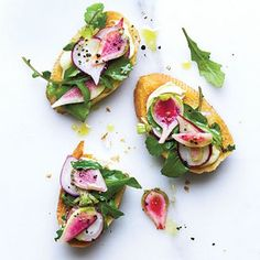 Cheesy Finger Food Favorites: Radish and Arugula Crostini with Brie Recipe | CookingLight.com