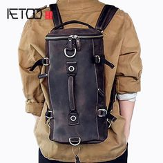 AETOO Multi-functional models of men s leather shoulder bag hand-Crazy  small travel backpack c6573b47f97b2