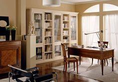 #Vetrina #libreria in alternanza #laccato #avorio coprente - Книжный шкаф со стеклом, окрашенный в цвет слоновой кости