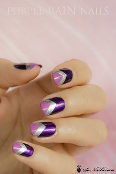 16 Cool Images of Pretty Purple Nail Designs. Purple Nail Designs Pretty Purple Nails Purple Nail Designs Purple and Silver Nail Art Design Purple and Black Nail Designs Chevron Nail Art, Purple Nail Art, Purple Nail Designs, Elegant Nail Designs, Pretty Nail Art, Elegant Nails, Nail Polish Designs, Nail Art Designs, Purple Chevron