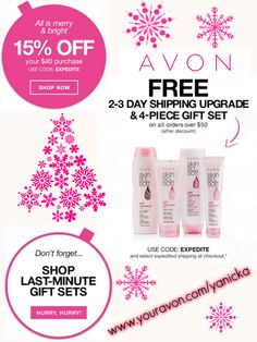Same code... New gift with purchase!! Spend $40 and use code: EXPEDITE to get 15% off Spend $50 and use code: EXPEDITE to get FREE expedited shipping AND the 4 pc Skin So Soft gift set! Only 2 days left to have it shipped to you or your loved ones in time for Christmas!! #Avon #Christmas #holidays #gifts #gwp #free #couponcode #skinsosoft #deals