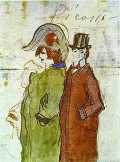 Pierrot & Colombina  by  Pablo Picasso - 1901 http://www.wikipaintings.org/en/pablo-picasso/pierrot-and-colombina-1900