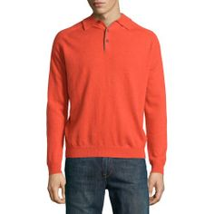 Where can I buy Neiman Marcus Cashmere Three-Button Polo Sweater, Orange, Mens, Size: MEDIUM, Curry