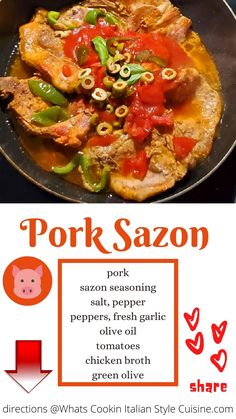Here is a delicious Latin-style dish called Pork Sazon bursting with great flavors and a fantastic all-in-one pan meal.