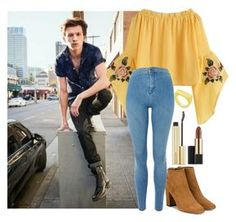 """""""Tom Holland"""" by anettevmc ❤ liked on Polyvore featuring Aquazzura, Estée Lauder and Topshop"""