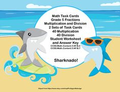 Here's a collection of task cards that will give your students practice in fractions. There are 80 cards in all. 40 are multiplying fractions and 40 are practice in dividing fractions. Answer keys and student worksheets are included. The cards have a fun Shark theme.