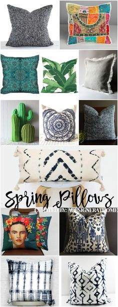 Boho spring throws and pillows! Bohemian Spring 2017 trending patterns, prints and textures. #jungalowstyle #bohemiandecor