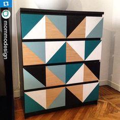 @mommodesign Geometric Ikea Malm dresser #ikea #ikeahack #ikeahacks #malm…