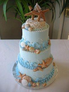 beach wedding cake w