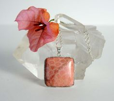 Handmade Coral Pendant with Silver Chain Natural by BoutiqueGem