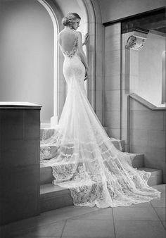 Tendance Robe du mariage 2017/2018  Mermaid gown features a lace illusion back scalloped lace hem and cathedral tra