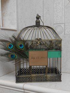 Peacock Wedding Birdcage Cardholder / Card Box. $60.00, via Etsy.