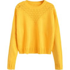 Hollow Out Crop Sweater ($30) ❤ liked on Polyvore featuring tops, sweaters, yellow crop sweater, yellow sweater, yellow top, crop top and cut-out crop tops