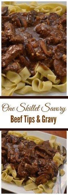 beef recipes ne Skillet Savory Beef Tips and Gravy combines beef steak, mushrooms, onions and garlic in a rich creamy gravy that is lightly seasoned. It is quick to prepare and mouthwatering delicious. Beef Steak Recipes, Beef Recipes For Dinner, Cooking Recipes, Healthy Recipes, Steak Tips, Stew Meat Recipes Quick, Easy Recipes, Skillet Recipes, Chicken Recipes