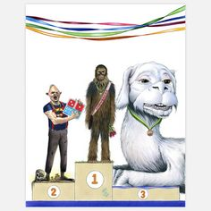 Top Three Ltd Print 11x14 now featured on Fab. [The Goonies Sloth; Star Wars Chewbacca; The Neverending Story Falcor; Berkley Illustration]