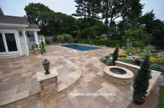 Mocha French Pattern Travertine Pavers: Mill Neck, NY 11765 by Gappsi www.webuildli.com or call 631-670-6868