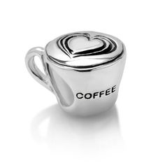 Sterling Silver Love Coffee Cup Bead Charm Chuvora