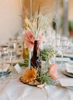 I need to start collecting beer bottles for my wedding centerpieces, lol! What a save :)