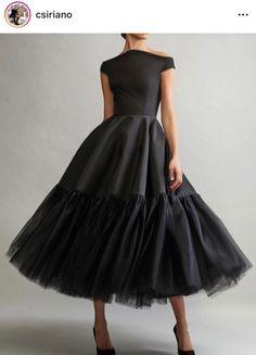 Elegant Off Shoulder Short Sleeves Tea-Length Solid Pleated Evening Dress - Prom Dresses Design Black Party Dresses, Trendy Dresses, Elegant Dresses, Sexy Dresses, Fashion Dresses, Little Black Dresses, Ladies Dresses, Black Women Fashion, Look Fashion